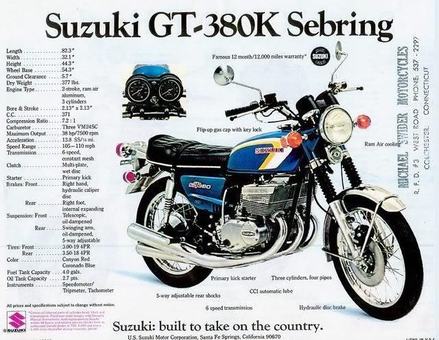 suzuki 380 gt k 1973 catalogo brochure
