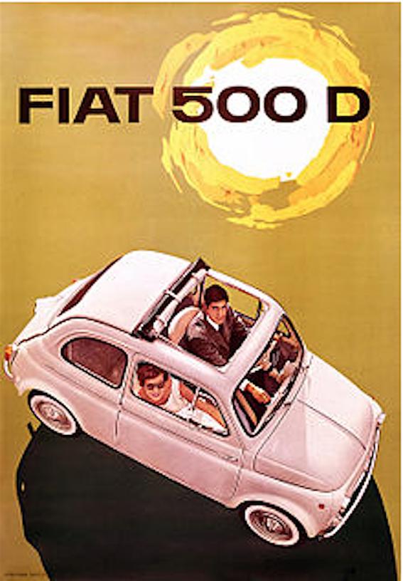 fiat nuova 500 brochure originale anni 60