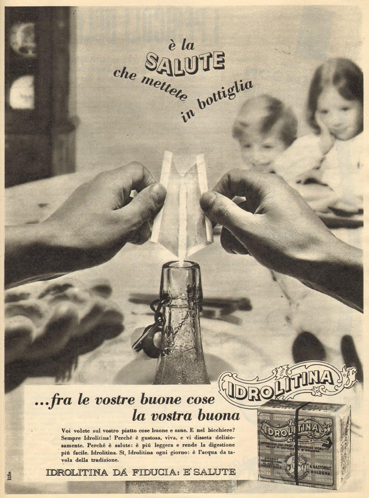 frizzina 1962 carosello salute preparazione bustina idrolitina