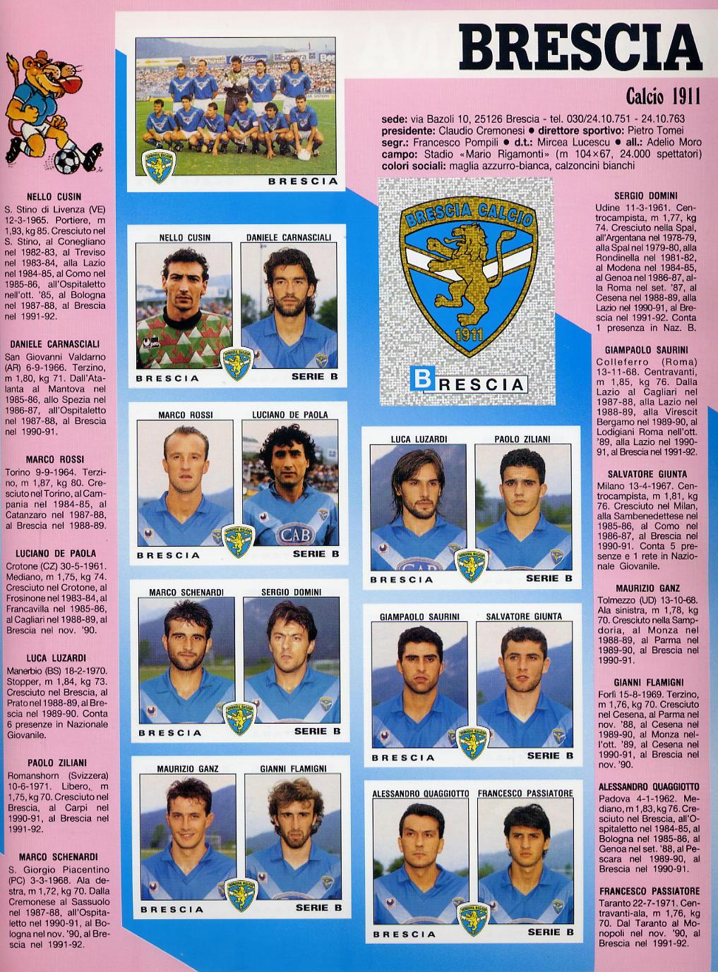 brescia campionato serie b 1991