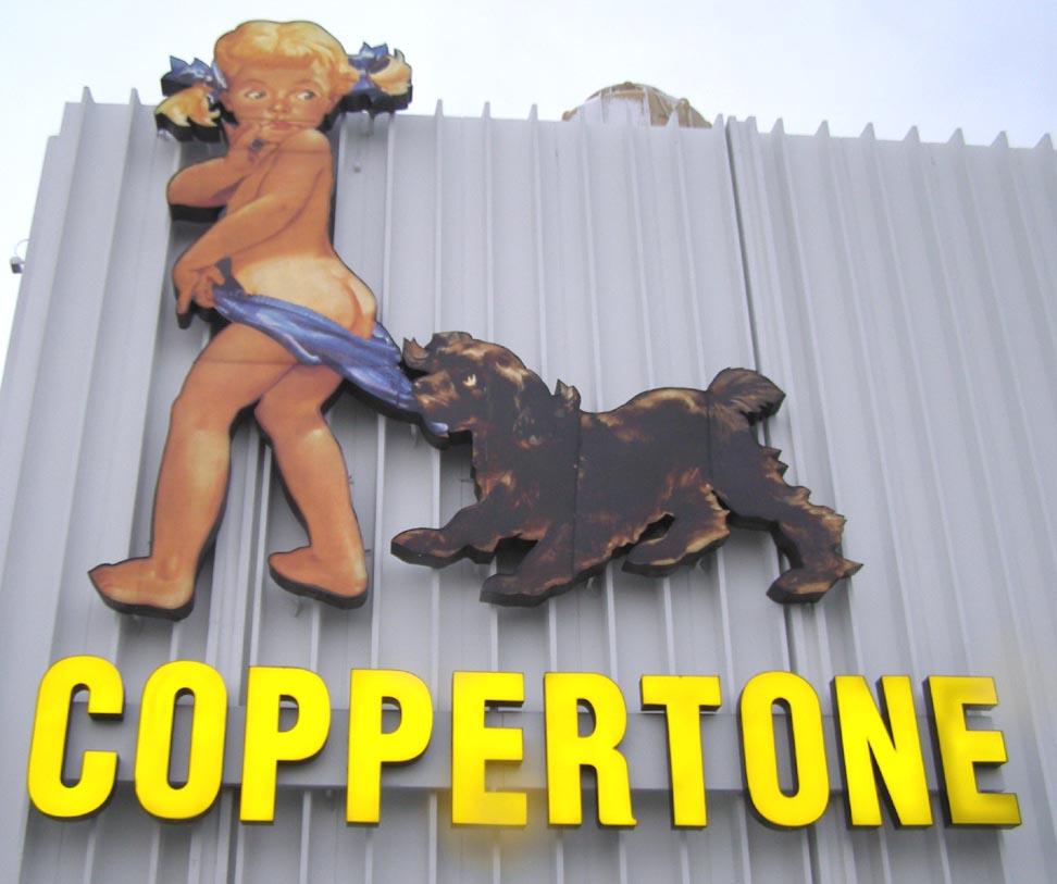 coppertone cane bambina mutanda vintage