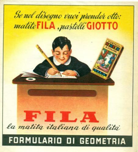 Fila Giotto pubblicità negli anni '60