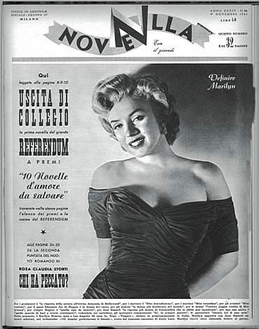 novella 2000 rivista copertina 1953 MARYLIN monroe