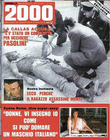 novella 2000 1975 morte pasolini copertina