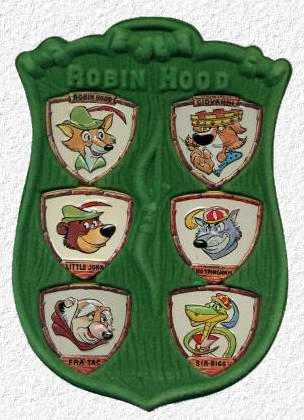 Gadget topolino con lo scudo di sherwood robin hood