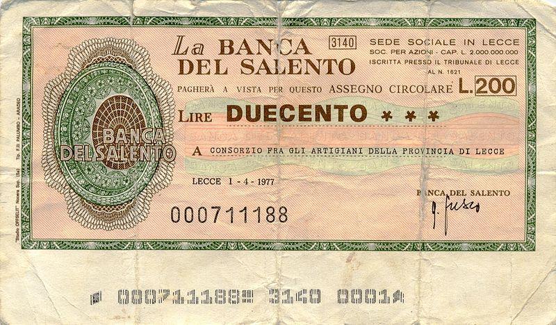Miniassegno di Lire 200 emesso dalla Banca del Salento