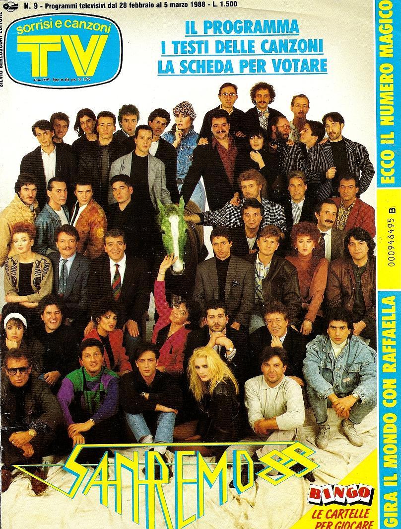 Sorrisi e Canzoni TV - Copertina dedicata al Festiva di Sanremo - 1988 -