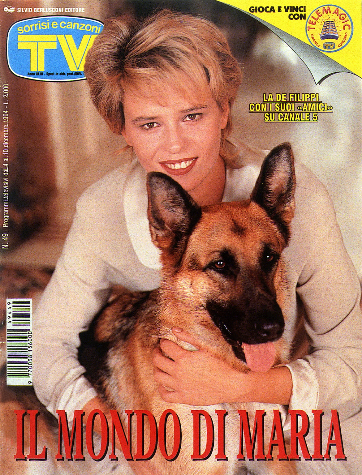 Sorrisi e Canzoni TV - Copertina dedicata a Maria De Filippi - 1994 -