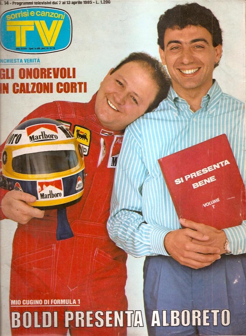 Sorrisi e Canzoni TV - Copertina dedicata a Boldi e Alboreto - 1985 -