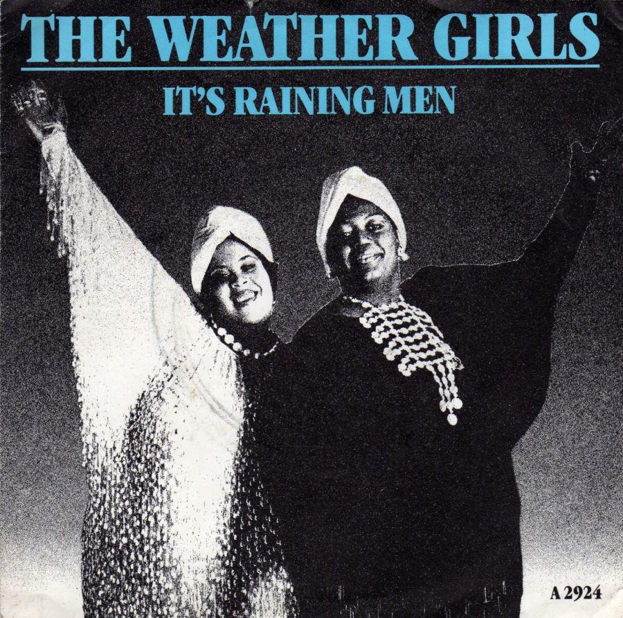 Copertina disco delle Weather Girls - It's Raining men - 1982