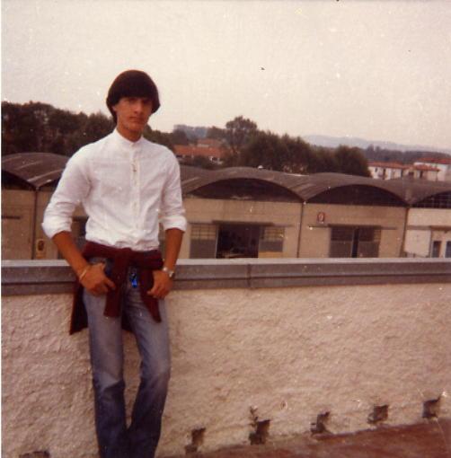 1980 Camica senza colletto anni 80