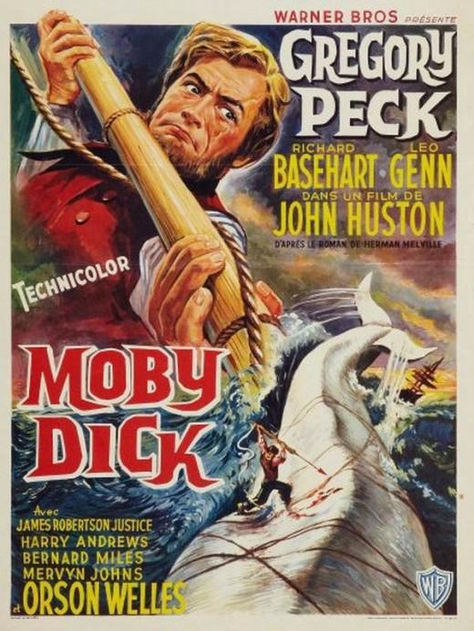 Moby Dick - Locandina del film del 1956 con Gregory Peck