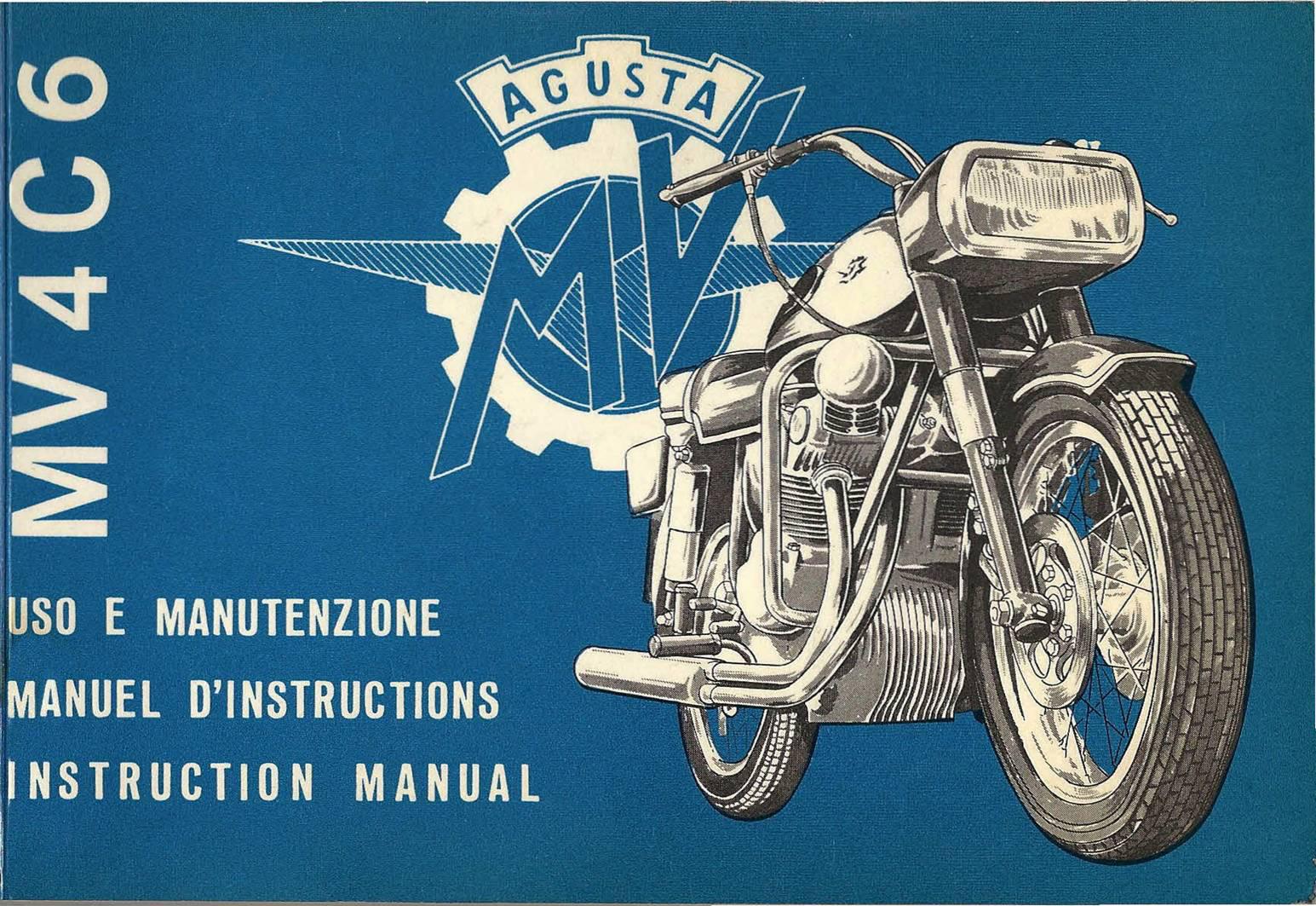 Libretto Uso e Manutenzione della Mv Agusta 600 cc 4c