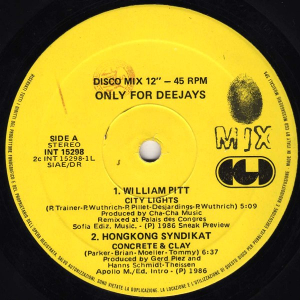 city lights william pitt 45 giri cgd vinile anno 1986