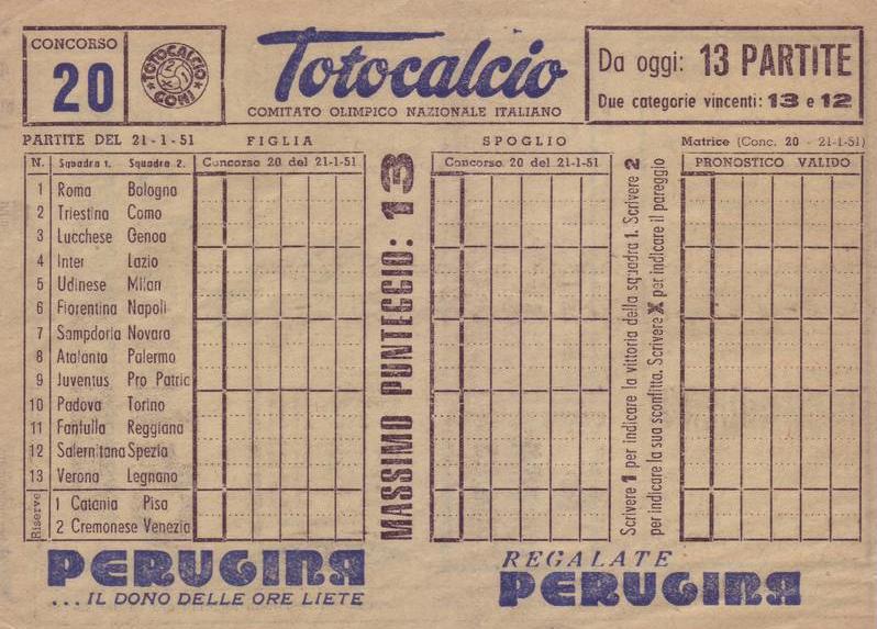 schedina totocalcio 1951 tredici partite
