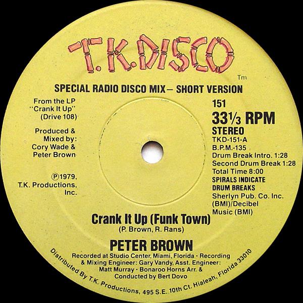 peter brow crank it up funk town disco 45 giri