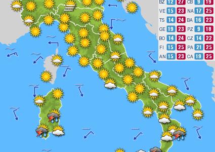 Previsioni del tempo e Oroscopo del giorno 25 SETTEMBRE