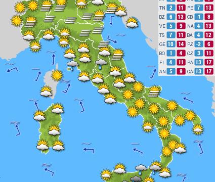 Previsioni del tempo e Oroscopo del giorno 14 DICEMBRE