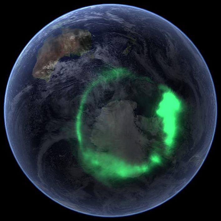 Aurora australe il polo sud al centro  ripresa l'11 settembre 2005 dal satellite Image della NASA