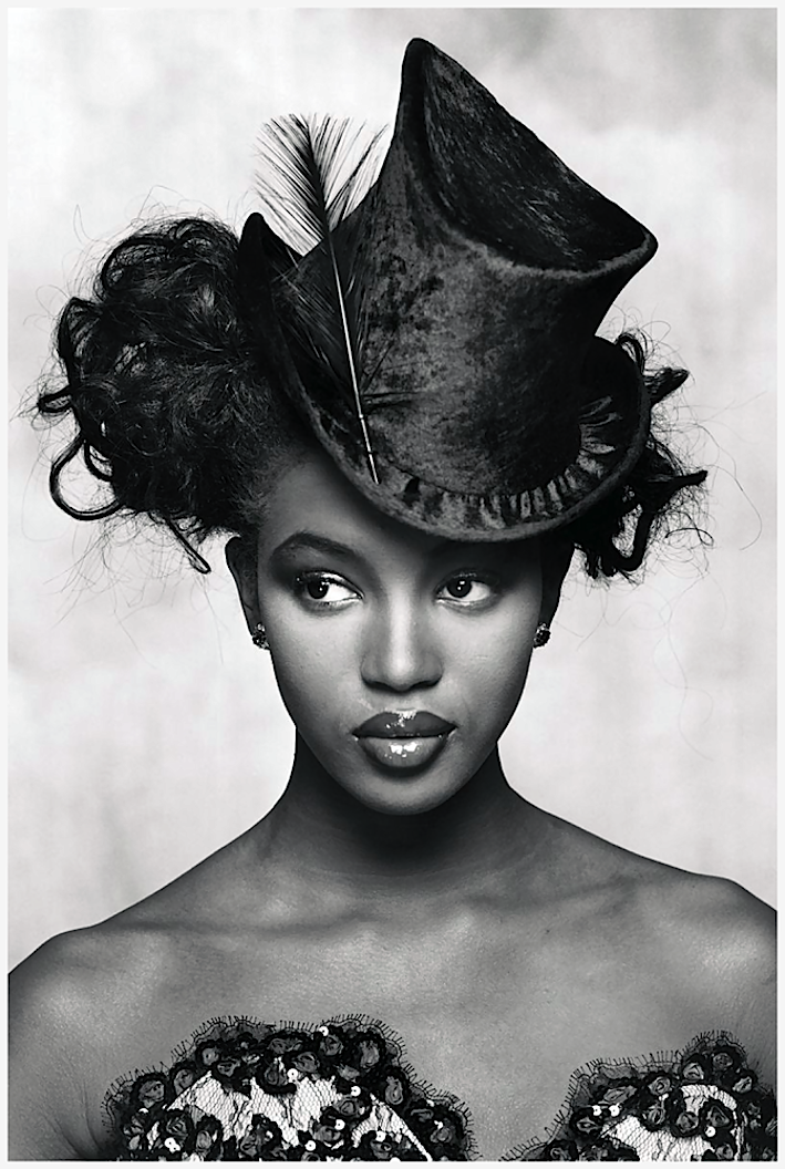 Naomi Campbell in A Shining New Season For British Evenings British Elle September 1988 by Terence Donovan