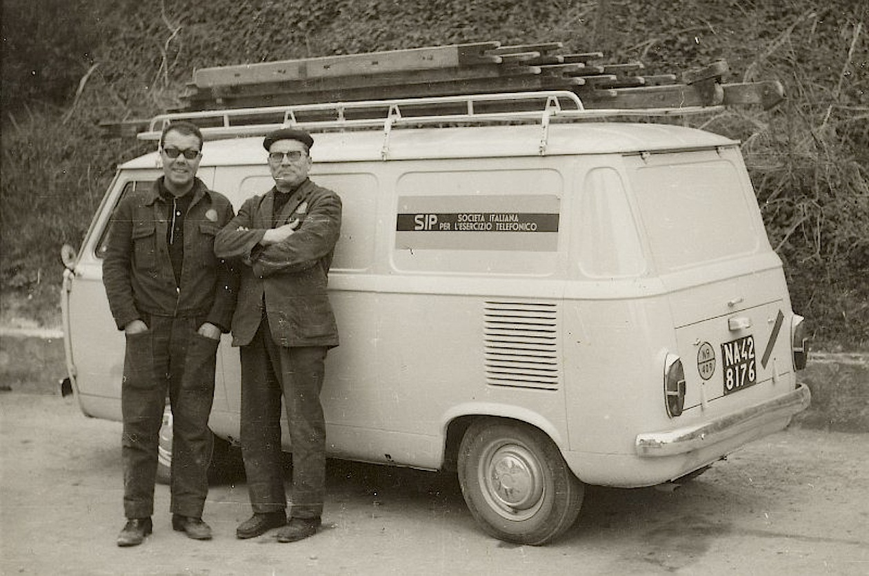 Operai_ SIP_furgone_fiat_850_mezzi_sip
