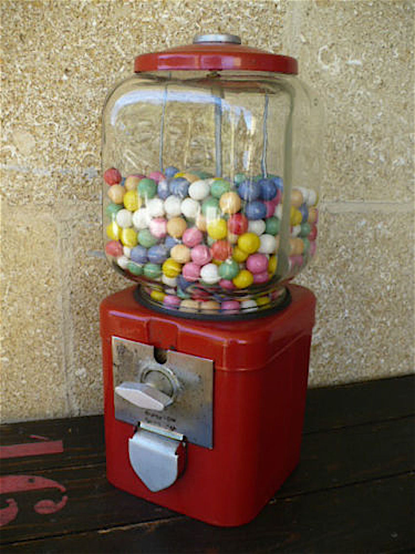 macchina dispenser palline colorate chewingum