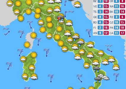 Ancora Freddo sull'Italia …… Ecco le previsioni per oggi Mercoledì 19 Aprile